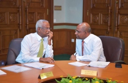President Ibrahim Mohamed Solih (L) and Minister of Foreign Affairs during a cabinet meeting held at the President's Office. PHOTO: PRESIDENT'S OFFICE