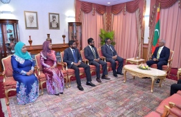 Members of the Asset Recovery Commission meeting with President Ibrahim Mohamed Solih after being sworn. PHOTO: PRESIDENTS OFFICE