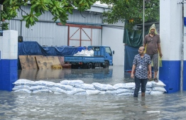A State Trading Organization godown during the flooding of Male' on November 5. PHOTO: AHMED NISHAATH/MIHAARU