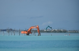 A resort being developed by reclaiming the lagoon of Emboodhoo. PHOTO: MIHAARU