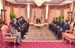The newly appointed State Ministers at the President's Office during their meeting with President Ibrahim Mohamed Solih. PHOTO: PRESIDENT'S OFFICE