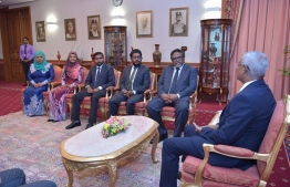President Ibrahim Mohamed Solih with the Presidential Commission on Corruption and Asset recovery. PHOTO:PRESIDENT'S OFFICE