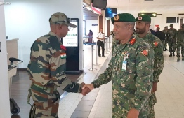 Welcoming Indian troops who arrived in Maldives. PHOTO: MNDF
