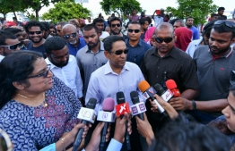 Former president Abdulla Yameen Abdul Gayoom talks to reporters after the police summons. PHOTO: NISHAN ALI/MIHAARU