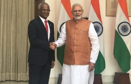 President Ibrahim Mohamed Solih shaking hands with Indian Prime Minister Narendra Modi, during the President's first state visit. PHOTO: AHMED HAMDHOON/MIHAARU
