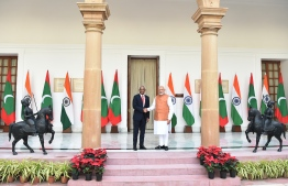 Indian Prime Minister Narendra Modi (R) shakes hands with Maldives President Ibrahim Mohamed Solihas prior to a meeting in New Delhi  on December 17, 2018. - Maldivian President is on three-day of state visit to India till December 18. (Photo by Prakash SINGH / AFP)