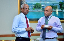 President Ibrahim Mohamed Solih and his Spokesperson Ibrahim Hood. PHOTO: PRESIDENT'S OFFICE