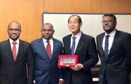 Maldives' Foreign Minister Abdulla Shahid (L-2) with the Japanese Environment Minister Yoshiaka Harada, during the former's first official visit to Japan. PHOTO/FOREIGN MINISTRY