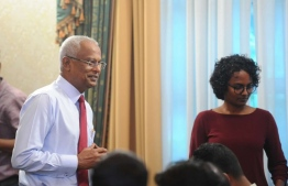 President Ibrahim Mohamed Solih (L) at Wednesday's press conference held at the President's Office. PHOTO: PRESIDENT'S OFFICE