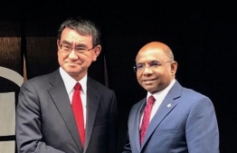 Foreign Minister Abdulla Shahid (R) with his Japanese counterpart Taro Kono during the former's first official visit to Japan. PHOTO/FOREIGN MINISTRY