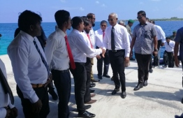 President Ibrahim Mohamed Solih is welcomed by Noonu atoll Henbadhoo island officials and residents.