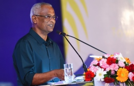 President Ibrahim Mohamed Solih speaks at the closing ceremony of Guesthouse Symposium 2018. PHOTO: AHMED NISHAATH/MIHAARU
