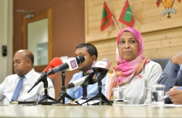 Housing Minister Athifa at Press Conference. PHOTO: HUSSAIN WAHEEDH/ MIHAARU