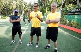 The three main coaches of the football camp (L-R) Local coach Ahmed Shareef (Dunga), Tim Cahill and Robbie Anderson. PHOTO: HAWWA AMANY ABDULLA/THE EDITION