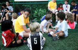 The children taking a breather before training commences. PHOTO: HAWWA AMANY ABDULLA/THE EDITION