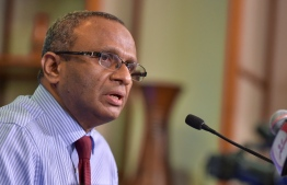 Husnu al-Suood, the president of the Commission on Investigation of Murders and Enforced Disappearances, speaks at a press conference. FILE PHOTO/MIHAARU