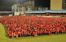 Tiny Hearts attempts to make a world record-breaking largest human heart. PHOTO: TINY HEARTS MALDIVES