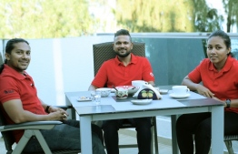 Leading team of Tiny Hearts Maldives sits with The Edition. Right; Co-Founder Mua, Center; Chairperson Dr. Aseel, Right; Co-Founder Hishko. PHOTO: HAWWA AMAANY ABDULLA / THE EDITION