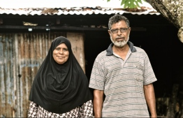 Toddy tapper Ali Abdurrahman and his wife, Haseena Ali, pose for a picture. PHOTO: HAWWA AMAANY ABDULLA/THE EDITION