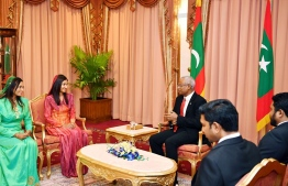 Newly appointed State Minister for Gender, Family and Social Services Ifhaam Hussain and Deputy Attorney General Khadeeja Shabeen (R-L). PHOTO: PRESIDENT'S OFFICE