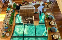 Overhead view of a sumptuous breakfast buffet at Six Senses Laamu. PHOTO: HAWWA AMAANY ABDULLA / THE EDITION