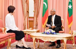 The new Ambassador of Japan to Maldives, Keiko Yanai (L), meets with President Ibrahim Mohamed Solih. PHOTO/PRESIDENT'S OFFICE