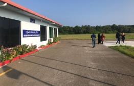 Travellers exit the terminal at Hanimaadhoo International Airport. PHOTO/MIHAARU