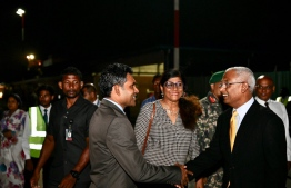 President Solih shortly before his departure. PHOTO: HASSAN MOHAMED/ MIHAARU