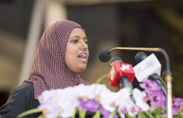 Minister Shidhatha at the Women's Development Committee Meeting held at Rasfannu beach. PHOTO: MINISTRY OF GENDER.