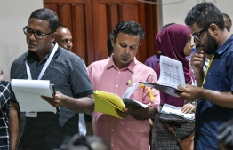 Election Officials during the Maldivian Democratic Party parliamentary primaries. PHOTO: NISHAN ALI/MIHAARU