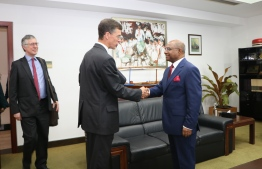 The Ambassador of the United Kingdom to Maldives James Dauris, meets with Minister of Foreign Affairs Abdulla Shahid, during the early period of 2019. PHOTO: MINISTRY OF FOREIGN AFFAIRS