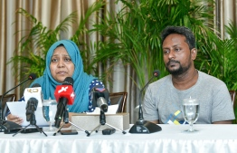 The parents of Rawshan Jian, the young girl who passed away on December 17, 2018, after being struck by a falling cement bag at a construction site, speak at a press conference. PHOTO: NISHAN ALI / MIHAARU