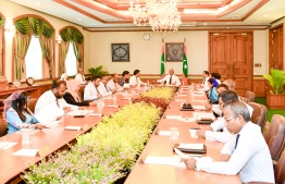 President Ibrahim Mohamed Solih sits with his Cabinet members. PHOTO:PRESIDENT'S OFFICE