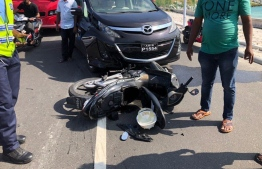 The motorbike involved in an accident on Sinamale' bridge, in January 2019.