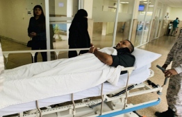 Former Vice-President Ahmed Adeeb at Indhira Gandhi Memorial Hospital (IGMH). PHOTO: MOHAMED YAMEEN
