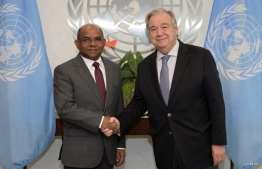 Minister of Foreign Affairs Abdulla Shahid and Secretary-General António Guterres. PHOTO: FOREIGN MINISTRY