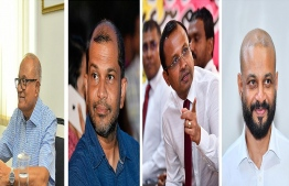 Maumoon (far left), Nadheem(left), MP Riyaz and MP Faris (far right). PHOTO: MIHAARU