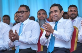 Former President Abdulla Yameen (R) and acting President of PNC Abdul Raheem Abdulla at the convening meeting of PNC. PHOTO/MIHAARU