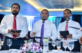 L-R: Jumhooree Party's leader Qasim Ibrahim, Elections Commission's President Ahmed Shareef, and Home Minister Imran Abdulla at the inauguration of EC's new logo and official colour. PHOTO/MIHAARU