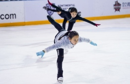 This photo taken on January 27, 2019 shows children practicing their ice skating skills at the Feiyang Skating Centre, founded by China's first Winter Games gold medallist Yang Yang, in Shanghai. - She was China's first Winter Games gold medallist, a two-time Olympic champion and regarded as one of the finest short-track speed skaters of all time. Now retired, the 42-year-old is harnessing that know-how to help China, already a force in the Summer Olympics, replicate that success on the snow and ice. (Photo by STR / AFP) /