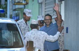 Former Vice President Ahmed Adeeb escorted to prison by officers of Maldives Correctional Service. FILE PHOTO/MIHAARU