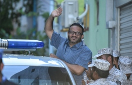 Ex VP Ahmed Adeeb escorted to prison by Maldives Correctional Service Officers. PHOTO: MIHAARU