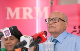 Former President Maumoon Abdul Gayoom speaks at MRM press conference. PHOTO/MIHAARU