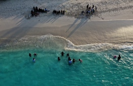 Aerial shot from a 'Fathaalamaa' Swimming Camp held in Maldives in partnership with Ooredoo. PHOTO: OOREDOO