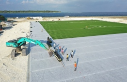 Overhead view of the turf-ground football stadium being developed in B.Eydhafushi.
