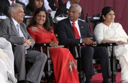 Sri Lanka's Prime Minister Ranil Wickremesinghe (L) and Maldives President Ibrahim Mohamed Solih (2R) and his wife Fazna Ahmed (2L) attend Sri Lanka's 71st Independence Day celebrations in Colombo on February 4, 2019. - Sri Lanka is marking the 71st anniversary of independence from Britain on February 4. (Photo by LAKRUWAN WANNIARACHCHI / AFP)