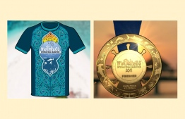 The newly unveiled Tee and Medal of the Maldives International Marathon. PHOTO: FACEBOOK / MALDIVES INTERNATIONAL MARATHON
