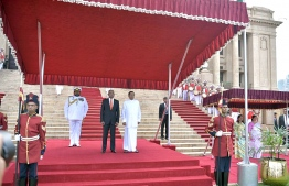 Colombo, February 5, 2019: Sri Lankan President Maithripala Sirisena and Maldivian President Ibrahim Mohamed Solih during the ceremony held to welcome the latter on his first state visit to Sri Lanka. PHOTO/PRESIDENT'S OFFICE