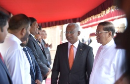 Colombo, February 5, 2019: Sri Lankan President Maithripala Sirisena (R) greets the Maldivian delegation during the ceremony held to officially welcome Maldivian President Ibrahim Mohamed Solih (C) and First Lady Fazna Ahmed on their first state visit to Sri Lanka. PHOTO/PRESIDENT'S OFFICE