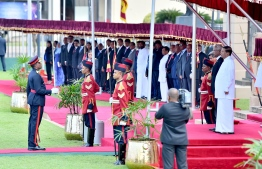 Colombo, February 5, 2019: During the ceremony held to officially welcome Maldivian President Ibrahim Mohamed Solih and First Lady Fazna Ahmed on their first state visit to Sri Lanka. PHOTO/PRESIDENT'S OFFICE